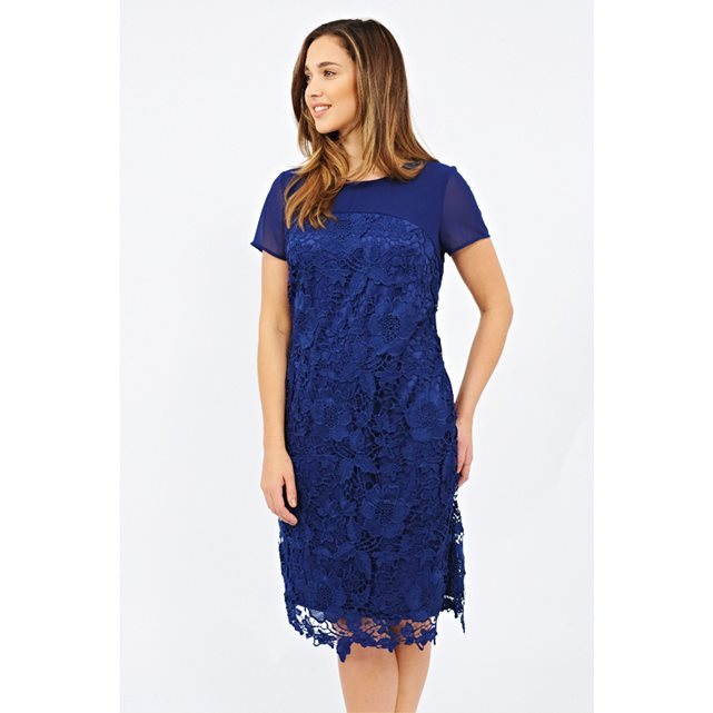 Short Sleeved Dress - style: shift; neckline: slash/boat neckline; predominant colour: royal blue; occasions: evening, occasion; length: on the knee; fit: straight cut; fibres: polyester/polyamide - 100%; sleeve length: short sleeve; sleeve style: standard; texture group: lace; pattern type: fabric; pattern size: standard; pattern: patterned/print; season: s/s 2016; wardrobe: event; embellishment: contrast fabric; embellishment location: shoulder