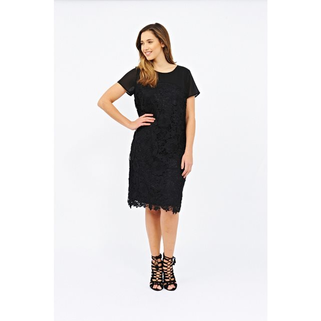 Laced Dress - style: shift; neckline: round neck; fit: tailored/fitted; pattern: plain; predominant colour: black; occasions: evening, creative work; length: on the knee; fibres: polyester/polyamide - 100%; sleeve length: short sleeve; sleeve style: standard; texture group: lace; pattern type: fabric; season: s/s 2016