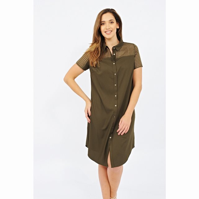 Short Sleeved Button Through Dress - style: shirt; neckline: shirt collar/peter pan/zip with opening; pattern: plain; predominant colour: khaki; occasions: casual; length: on the knee; fit: body skimming; fibres: polyester/polyamide - 100%; sleeve length: short sleeve; sleeve style: standard; pattern type: fabric; texture group: other - light to midweight; season: s/s 2016; wardrobe: basic