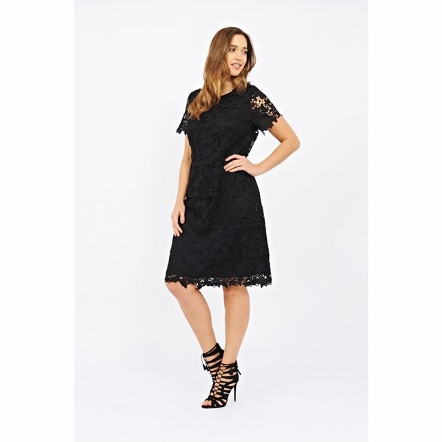 Short Sleeved Lace Dress - style: shift; neckline: round neck; fit: tailored/fitted; predominant colour: black; occasions: evening; length: on the knee; fibres: polyester/polyamide - 100%; sleeve length: short sleeve; sleeve style: standard; texture group: lace; pattern type: fabric; pattern size: standard; pattern: patterned/print; embellishment: lace; season: s/s 2016; wardrobe: event