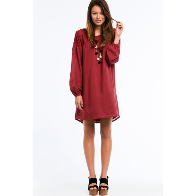 Long Sleeved Dress With Crochet Lace Yoke - style: smock; length: mid thigh; fit: loose; pattern: plain; sleeve style: balloon; predominant colour: burgundy; occasions: casual, creative work; neckline: scoop; fibres: polyester/polyamide - 100%; sleeve length: long sleeve; texture group: knits/crochet; pattern type: fabric; season: s/s 2016; wardrobe: highlight