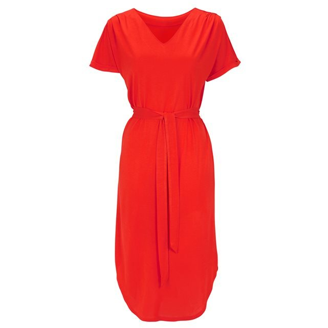 Short Sleeved V Neck Dress With Tie Waist - style: shift; length: below the knee; neckline: v-neck; fit: fitted at waist; pattern: plain; waist detail: belted waist/tie at waist/drawstring; predominant colour: true red; fibres: polyester/polyamide - 100%; sleeve length: short sleeve; sleeve style: standard; texture group: crepes; pattern type: fabric; occasions: creative work; season: s/s 2016; wardrobe: highlight