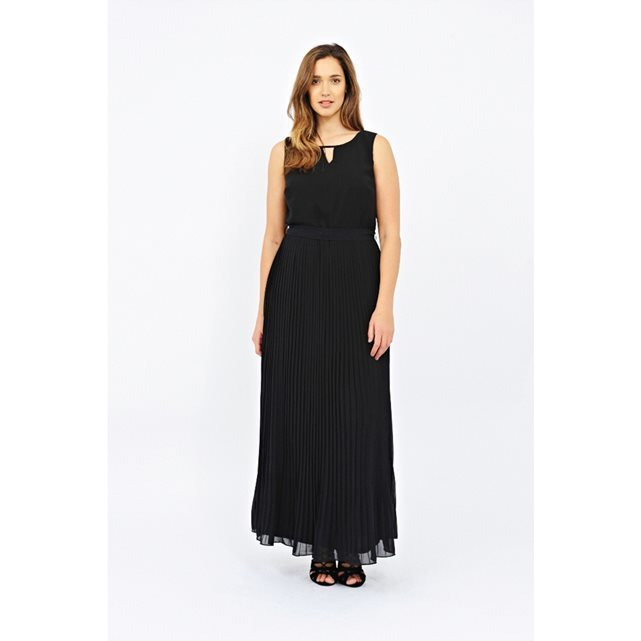 Sleeveless Maxi Dress - pattern: plain; sleeve style: sleeveless; style: maxi dress; predominant colour: black; occasions: evening; length: floor length; fit: body skimming; neckline: peep hole neckline; fibres: polyester/polyamide - 100%; sleeve length: sleeveless; pattern type: fabric; texture group: jersey - stretchy/drapey; season: s/s 2016; wardrobe: event