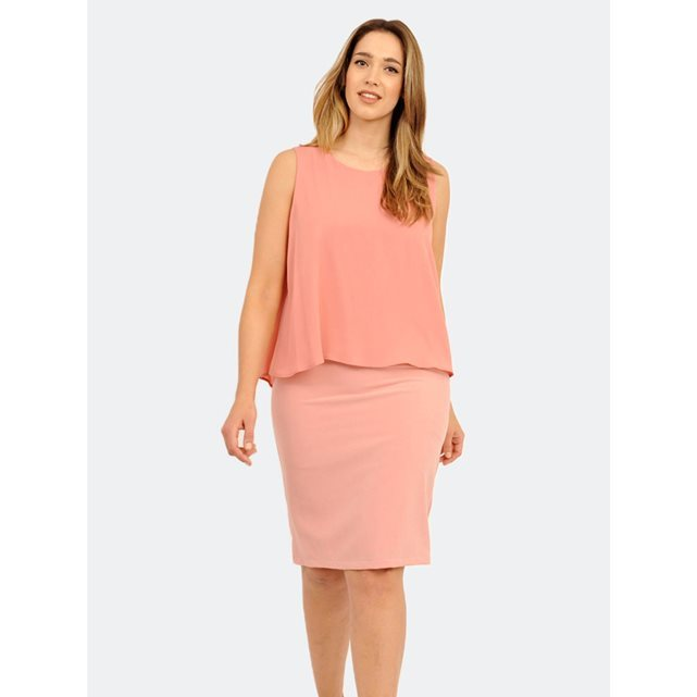 Layered Dress - style: shift; neckline: round neck; pattern: plain; sleeve style: sleeveless; predominant colour: pink; occasions: evening, occasion; length: on the knee; fit: body skimming; fibres: polyester/polyamide - 100%; sleeve length: sleeveless; texture group: crepes; pattern type: fabric; season: s/s 2016; wardrobe: event