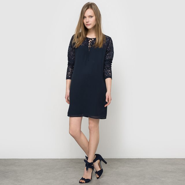 Vicinda L/S Dress - style: shift; length: mid thigh; pattern: plain; predominant colour: black; occasions: evening; fit: body skimming; fibres: cotton - mix; neckline: crew; sleeve length: 3/4 length; sleeve style: standard; texture group: lace; pattern type: fabric; season: s/s 2016; wardrobe: event
