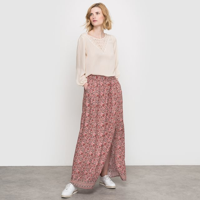 Printed Maxi Skirt - length: ankle length; fit: loose/voluminous; hip detail: draws attention to hips; waist: mid/regular rise; predominant colour: pink; occasions: casual; style: maxi skirt; fibres: viscose/rayon - 100%; pattern type: fabric; pattern: patterned/print; texture group: jersey - stretchy/drapey; multicoloured: multicoloured; season: s/s 2016; wardrobe: highlight