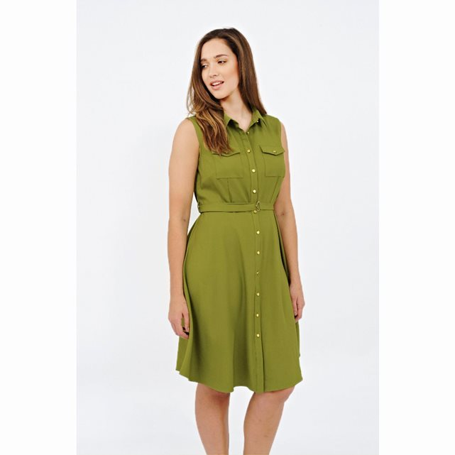 Sleeveless Button Through Dress - style: shirt; neckline: shirt collar/peter pan/zip with opening; fit: fitted at waist; pattern: plain; sleeve style: sleeveless; predominant colour: lime; occasions: casual, creative work; length: on the knee; fibres: polyester/polyamide - 100%; sleeve length: sleeveless; pattern type: fabric; texture group: other - light to midweight; season: s/s 2016; wardrobe: highlight