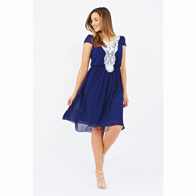 Lace Detail Midi Dress - neckline: round neck; sleeve style: capped; fit: fitted at waist; pattern: plain; style: blouson; waist detail: fitted waist; secondary colour: white; predominant colour: royal blue; length: on the knee; fibres: polyester/polyamide - 100%; occasions: occasion; hip detail: subtle/flattering hip detail; sleeve length: short sleeve; texture group: sheer fabrics/chiffon/organza etc.; pattern type: fabric; pattern size: standard; embellishment: lace; season: s/s 2016; wardrobe: event; embellishment location: bust
