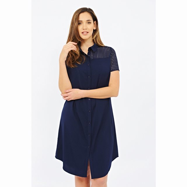 Short Sleeved Button Through Dress - style: shirt; neckline: shirt collar/peter pan/zip with opening; pattern: plain; bust detail: sheer at bust; predominant colour: navy; occasions: casual; length: on the knee; fit: body skimming; fibres: polyester/polyamide - 100%; sleeve length: short sleeve; sleeve style: standard; pattern type: fabric; texture group: other - light to midweight; season: s/s 2016; wardrobe: basic