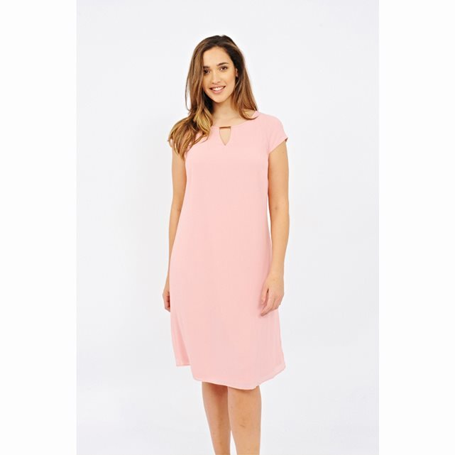 Short Sleeved Midi Dress - style: shift; length: below the knee; sleeve style: capped; pattern: plain; predominant colour: pink; fit: straight cut; neckline: peep hole neckline; fibres: polyester/polyamide - 100%; occasions: occasion, creative work; sleeve length: short sleeve; texture group: crepes; pattern type: fabric; season: s/s 2016