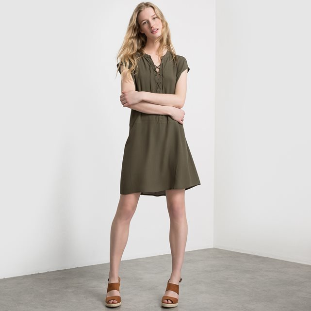 Vinicola Dress Lace Up Dress - style: shift; neckline: v-neck; pattern: plain; predominant colour: khaki; occasions: casual; length: just above the knee; fit: body skimming; fibres: viscose/rayon - 100%; sleeve length: short sleeve; sleeve style: standard; pattern type: fabric; texture group: other - light to midweight; season: s/s 2016; wardrobe: basic