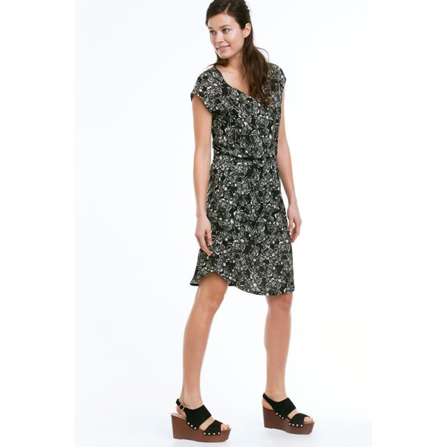 V Neck Short Sleeved Dress - style: shift; length: below the knee; neckline: low v-neck; fit: fitted at waist; secondary colour: white; predominant colour: black; occasions: casual; fibres: viscose/rayon - 100%; sleeve length: short sleeve; sleeve style: standard; pattern type: fabric; pattern: patterned/print; texture group: other - light to midweight; season: s/s 2016; wardrobe: highlight