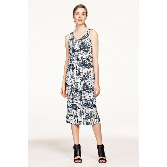 Printed Sleeveless Midi Dress - style: shift; length: calf length; neckline: round neck; sleeve style: sleeveless; predominant colour: ivory/cream; secondary colour: charcoal; occasions: casual; fit: body skimming; fibres: cotton - stretch; sleeve length: sleeveless; pattern type: fabric; pattern: patterned/print; texture group: jersey - stretchy/drapey; multicoloured: multicoloured; season: s/s 2016; wardrobe: highlight