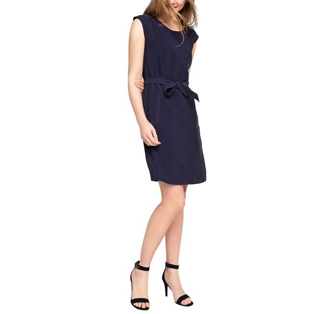 Cap Sleeve Dress - style: shift; pattern: plain; sleeve style: sleeveless; waist detail: belted waist/tie at waist/drawstring; predominant colour: black; occasions: casual; length: just above the knee; fit: body skimming; neckline: crew; sleeve length: sleeveless; pattern type: fabric; texture group: jersey - stretchy/drapey; fibres: viscose/rayon - mix; season: s/s 2016; wardrobe: basic