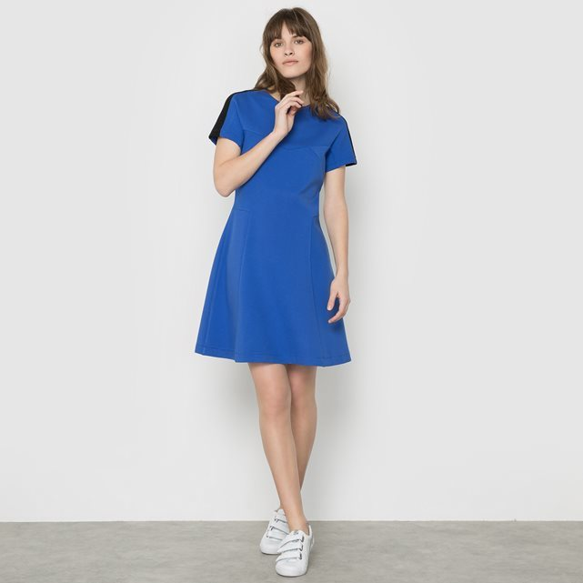 Lula Short Sleeved Dress - pattern: plain; predominant colour: royal blue; occasions: evening; length: just above the knee; fit: fitted at waist & bust; style: fit & flare; fibres: viscose/rayon - stretch; neckline: crew; sleeve length: short sleeve; sleeve style: standard; pattern type: fabric; texture group: jersey - stretchy/drapey; season: s/s 2016; wardrobe: event