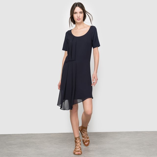 Round Neck Midi Dress - length: mid thigh; pattern: plain; predominant colour: navy; occasions: casual, creative work; fit: soft a-line; style: asymmetric (hem); neckline: scoop; fibres: polyester/polyamide - 100%; sleeve length: short sleeve; sleeve style: standard; texture group: sheer fabrics/chiffon/organza etc.; pattern type: fabric; season: s/s 2016; wardrobe: basic