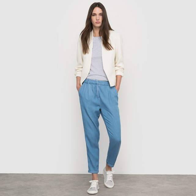 7/8 Length Denim Look Chinos - pattern: plain; waist: mid/regular rise; predominant colour: denim; occasions: casual; length: ankle length; style: chino; fibres: cotton - mix; texture group: denim; fit: tapered; pattern type: fabric; season: s/s 2016; wardrobe: highlight
