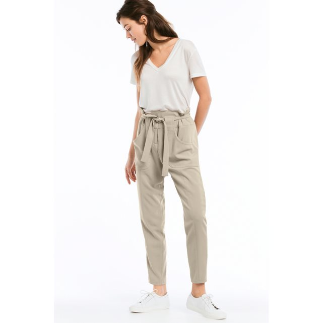 High Waist Trousers With Belt And Pockets - pattern: plain; style: peg leg; waist detail: belted waist/tie at waist/drawstring; waist: mid/regular rise; predominant colour: stone; occasions: casual, creative work; length: ankle length; fibres: polyester/polyamide - 100%; fit: tapered; pattern type: fabric; texture group: other - light to midweight; season: s/s 2016