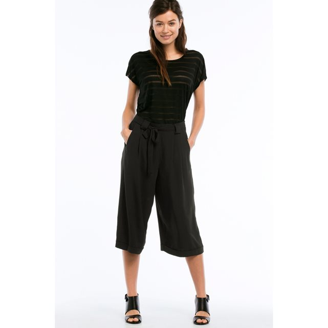 Casual Culotte Trousers With Turn Ups - pattern: plain; waist: high rise; waist detail: belted waist/tie at waist/drawstring; predominant colour: black; fibres: polyester/polyamide - 100%; texture group: crepes; pattern type: fabric; occasions: creative work; season: s/s 2016; wardrobe: basic; style: culotte; length: below the knee; fit: a-line