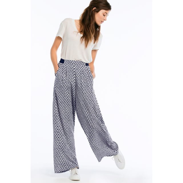Wide Leg Trousers With Regular Waist - length: standard; style: palazzo; waist: high rise; secondary colour: white; predominant colour: navy; occasions: casual; fibres: polyester/polyamide - 100%; waist detail: narrow waistband; fit: wide leg; pattern type: fabric; pattern: patterned/print; texture group: woven light midweight; embellishment: pearls; season: s/s 2016