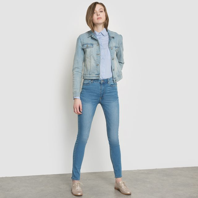 High Waist Skinny Jeans - style: skinny leg; length: standard; pattern: plain; pocket detail: traditional 5 pocket; waist: mid/regular rise; predominant colour: denim; occasions: casual; fibres: cotton - stretch; jeans detail: shading down centre of thigh; texture group: denim; pattern type: fabric; season: s/s 2016; wardrobe: basic
