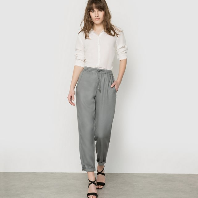 Kruger Tencel Jogger Softly Draping Trousers - pattern: plain; style: tracksuit pants; waist: high rise; predominant colour: mid grey; occasions: casual, creative work; length: ankle length; fibres: polyester/polyamide - 100%; fit: tapered; pattern type: fabric; texture group: other - light to midweight; season: s/s 2016; wardrobe: basic