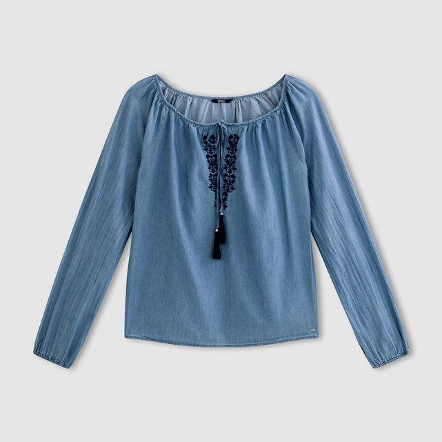 Long Sleeved Denim Blouse - neckline: round neck; pattern: plain; predominant colour: denim; occasions: casual; length: standard; style: top; fibres: cotton - 100%; fit: loose; sleeve length: long sleeve; sleeve style: standard; texture group: denim; pattern type: fabric; season: s/s 2016; wardrobe: basic