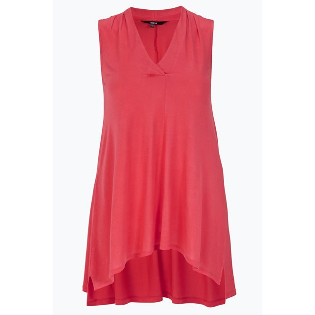Tunic - neckline: low v-neck; pattern: plain; sleeve style: sleeveless; style: tunic; predominant colour: true red; occasions: casual; fibres: viscose/rayon - 100%; fit: loose; length: mid thigh; back detail: longer hem at back than at front; sleeve length: sleeveless; pattern type: fabric; texture group: jersey - stretchy/drapey; season: s/s 2016; wardrobe: highlight