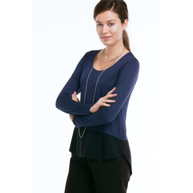 Dual Fabric Two Tone Top - pattern: plain; neckline: shawl; predominant colour: navy; secondary colour: black; occasions: casual, creative work; length: standard; style: top; fit: body skimming; sleeve length: long sleeve; sleeve style: standard; pattern type: fabric; texture group: jersey - stretchy/drapey; fibres: viscose/rayon - mix; season: s/s 2016; wardrobe: basic