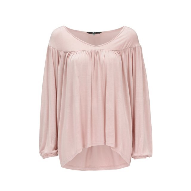Jersey Top With Scoop Neckline - pattern: plain; bust detail: ruching/gathering/draping/layers/pintuck pleats at bust; predominant colour: blush; occasions: casual, creative work; length: standard; style: top; neckline: scoop; fibres: viscose/rayon - 100%; fit: loose; back detail: longer hem at back than at front; sleeve length: long sleeve; sleeve style: standard; pattern type: fabric; texture group: jersey - stretchy/drapey; season: s/s 2016