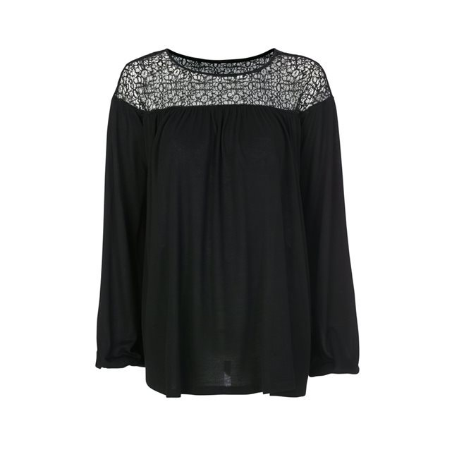 Jersey Top With Long Flared Sleeves - neckline: round neck; pattern: plain; predominant colour: black; occasions: casual, creative work; length: standard; style: top; fibres: viscose/rayon - 100%; fit: loose; sleeve length: long sleeve; sleeve style: standard; pattern type: fabric; texture group: jersey - stretchy/drapey; season: s/s 2016; wardrobe: highlight; embellishment: contrast fabric; embellishment location: shoulder