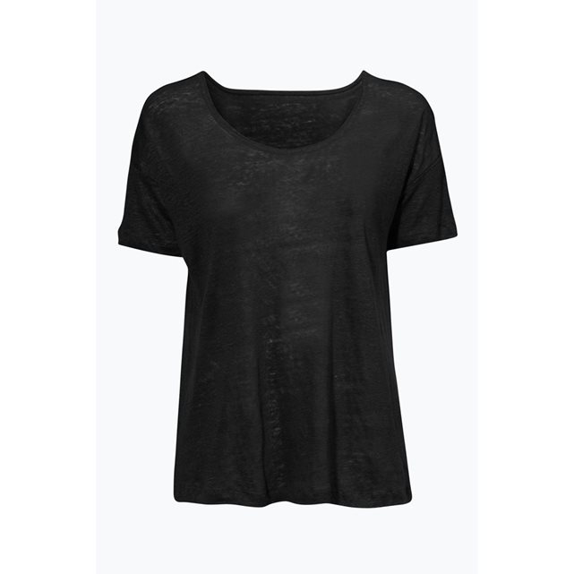 Short Sleeved Linen Top - pattern: plain; predominant colour: black; occasions: casual; length: standard; style: top; neckline: scoop; fibres: linen - 100%; fit: body skimming; sleeve length: short sleeve; sleeve style: standard; pattern type: fabric; texture group: jersey - stretchy/drapey; season: s/s 2016