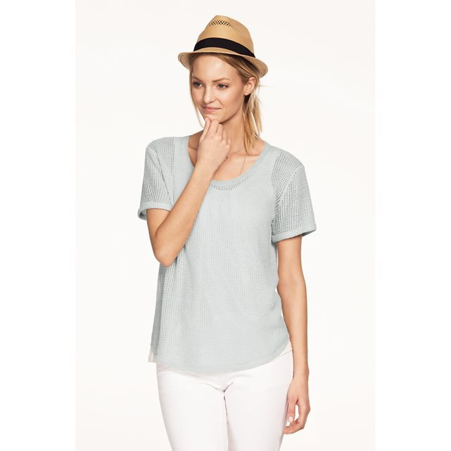 Mesh T Shirt With Shiny Threads - pattern: plain; style: t-shirt; predominant colour: light grey; occasions: casual; length: standard; neckline: scoop; fibres: viscose/rayon - 100%; fit: body skimming; sleeve length: short sleeve; sleeve style: standard; pattern type: fabric; texture group: jersey - stretchy/drapey; season: s/s 2016; wardrobe: basic