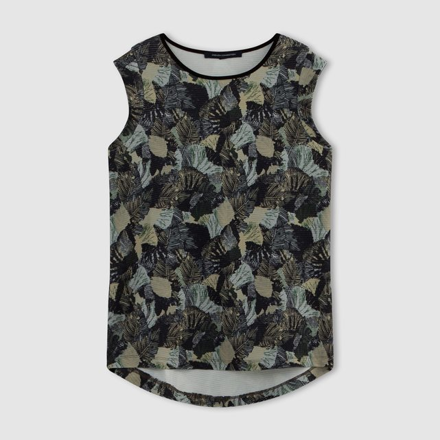 Sleeveless Printed T Shirt - neckline: round neck; sleeve style: sleeveless; style: t-shirt; predominant colour: black; occasions: casual; length: standard; fibres: polyester/polyamide - stretch; fit: straight cut; back detail: longer hem at back than at front; sleeve length: sleeveless; pattern type: fabric; pattern: patterned/print; texture group: jersey - stretchy/drapey; pattern size: big & busy (top); multicoloured: multicoloured; season: s/s 2016