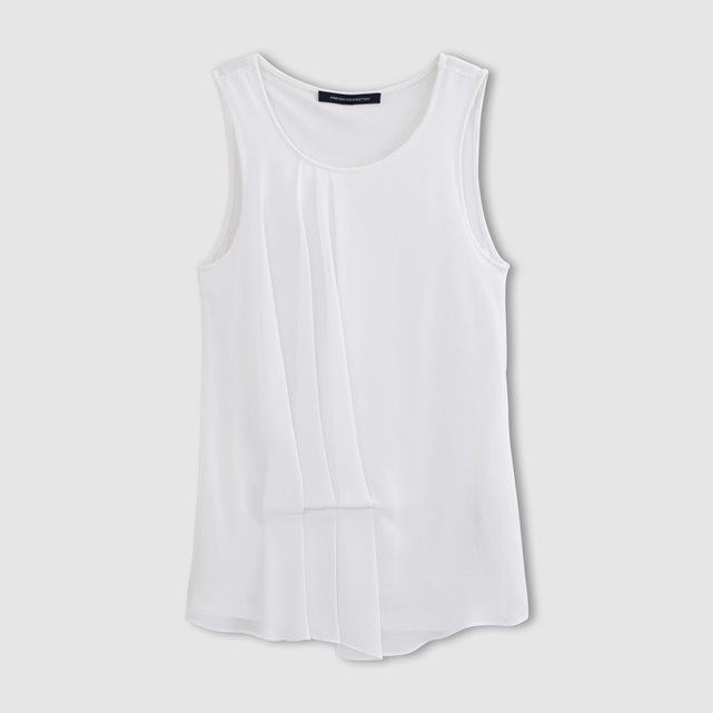 Sleeveless Camisole - neckline: round neck; sleeve style: standard vest straps/shoulder straps; pattern: plain; style: vest top; predominant colour: white; occasions: casual; length: standard; fibres: viscose/rayon - 100%; fit: body skimming; sleeve length: sleeveless; pattern type: fabric; texture group: jersey - stretchy/drapey; season: s/s 2016; wardrobe: basic