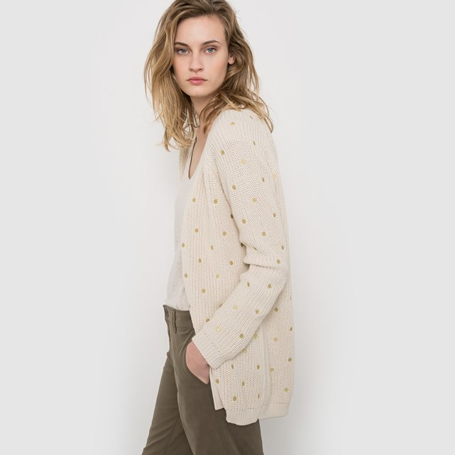 Isao Long Cardigan - neckline: v-neck; pattern: plain; length: below the bottom; predominant colour: ivory/cream; occasions: casual, creative work; style: standard; fibres: cotton - 100%; fit: standard fit; sleeve length: long sleeve; sleeve style: standard; texture group: knits/crochet; pattern type: knitted - fine stitch; season: s/s 2016; wardrobe: basic