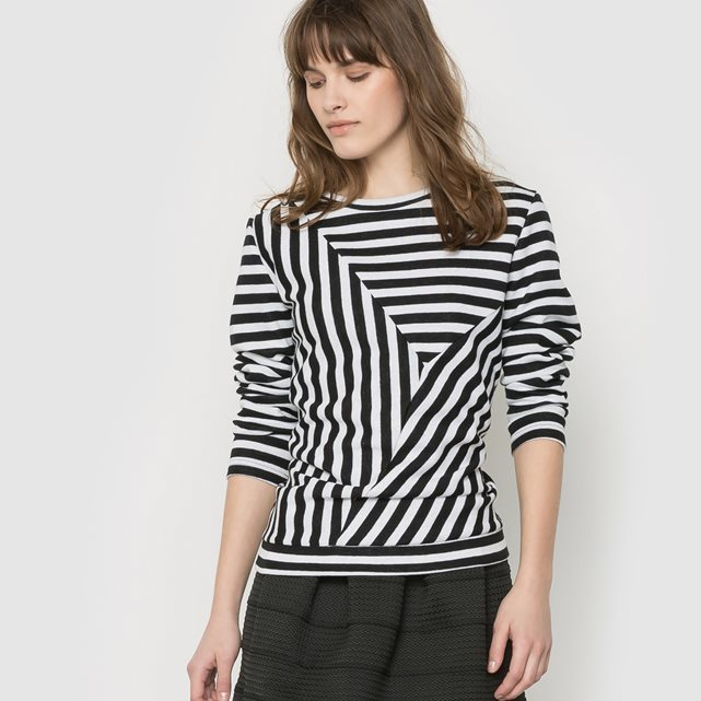 Andrea Sweat Two Tone Printed Sweatshir - pattern: striped; style: sweat top; hip detail: draws attention to hips; secondary colour: white; predominant colour: black; occasions: casual; length: standard; fibres: cotton - mix; fit: body skimming; neckline: crew; sleeve length: long sleeve; sleeve style: standard; pattern type: fabric; texture group: jersey - stretchy/drapey; season: s/s 2016; wardrobe: highlight