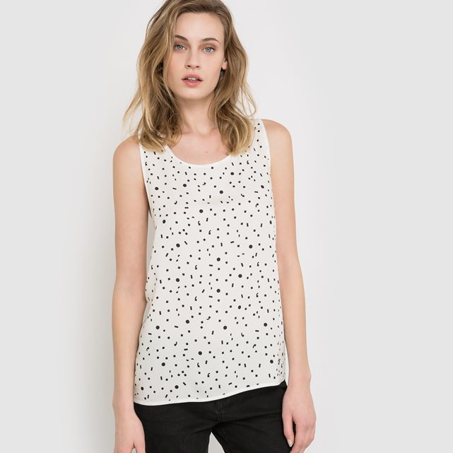 Printed Camisole - neckline: round neck; sleeve style: sleeveless; style: vest top; pattern: polka dot; predominant colour: ivory/cream; secondary colour: black; occasions: casual; length: standard; fibres: viscose/rayon - 100%; fit: body skimming; sleeve length: sleeveless; pattern type: fabric; texture group: jersey - stretchy/drapey; multicoloured: multicoloured; season: s/s 2016; wardrobe: highlight