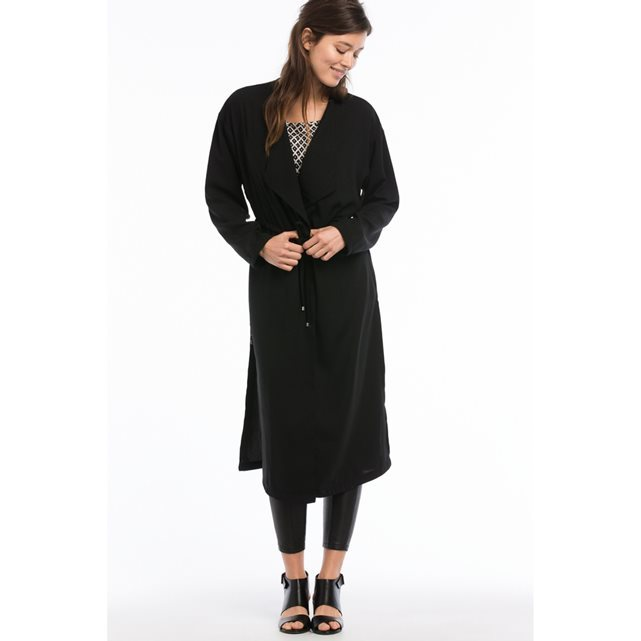 Long Collarless Jacket With Drawstring - pattern: plain; collar: round collar/collarless; length: below the knee; predominant colour: black; occasions: casual, creative work; fit: straight cut (boxy); fibres: polyester/polyamide - 100%; sleeve length: long sleeve; sleeve style: standard; collar break: medium; pattern type: fabric; pattern size: standard; texture group: other - light to midweight; style: fluid/kimono; season: s/s 2016; wardrobe: basic