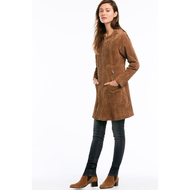 Suede Coat With Zip Fastening - pattern: plain; collar: round collar/collarless; style: single breasted; length: mid thigh; predominant colour: tan; occasions: casual, creative work; fit: straight cut (boxy); fibres: leather - 100%; sleeve length: long sleeve; sleeve style: standard; collar break: high; pattern type: fabric; texture group: suede; season: s/s 2016; wardrobe: highlight