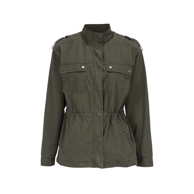 Cotton Jacket With Breast Pockets - pattern: plain; collar: funnel; length: below the bottom; predominant colour: khaki; occasions: casual, creative work; fit: straight cut (boxy); fibres: cotton - 100%; sleeve length: long sleeve; sleeve style: standard; collar break: high; pattern type: fabric; texture group: woven light midweight; style: single breasted military jacket; season: s/s 2016; wardrobe: basic