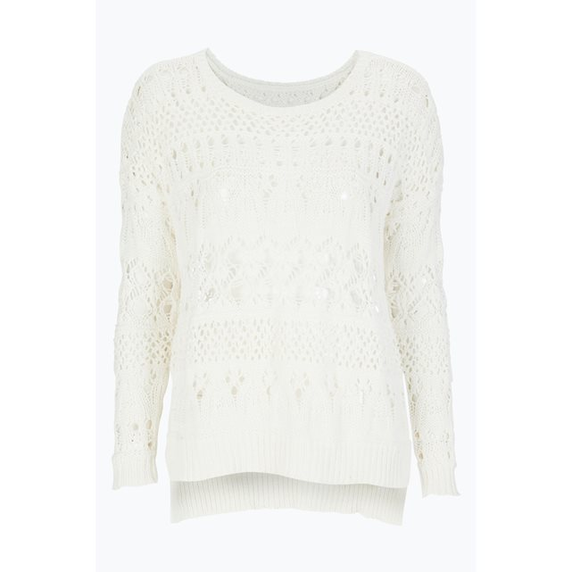 Openwork Cotton Jumper With Boat Neck - pattern: plain; predominant colour: ivory/cream; occasions: casual; length: standard; style: top; fibres: cotton - 100%; fit: body skimming; neckline: crew; sleeve length: long sleeve; sleeve style: standard; texture group: knits/crochet; pattern type: knitted - fine stitch; season: s/s 2016; wardrobe: basic