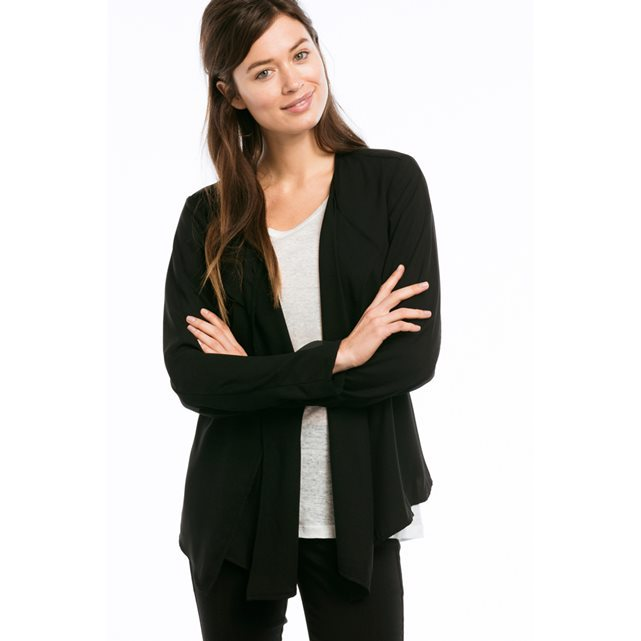 Asymmetric Jacket With Belt - pattern: plain; style: single breasted blazer; collar: shawl/waterfall; predominant colour: black; length: standard; fit: straight cut (boxy); fibres: polyester/polyamide - 100%; sleeve length: long sleeve; sleeve style: standard; texture group: crepes; collar break: low/open; pattern type: fabric; occasions: creative work; season: s/s 2016; wardrobe: investment