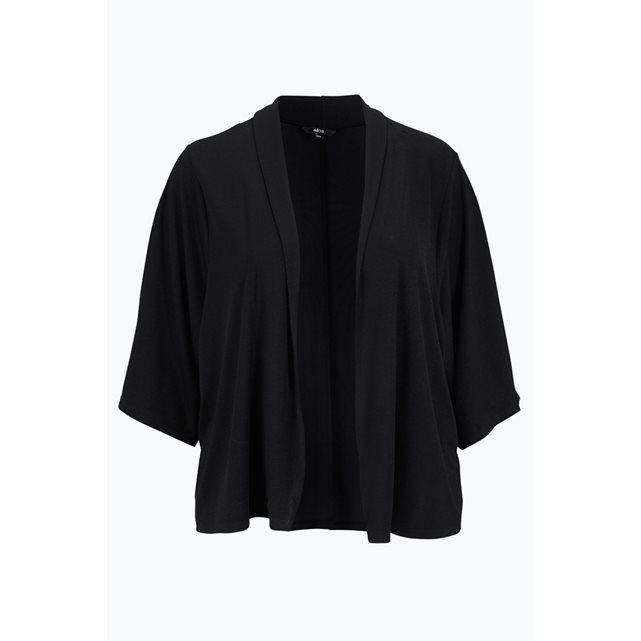 Short Sleeved Kimono With Shawl Collar - pattern: plain; neckline: waterfall neck; style: open front; predominant colour: black; occasions: casual, work, creative work; length: standard; fibres: polyester/polyamide - stretch; fit: loose; sleeve length: 3/4 length; sleeve style: standard; texture group: knits/crochet; pattern type: knitted - fine stitch; season: s/s 2016; wardrobe: basic