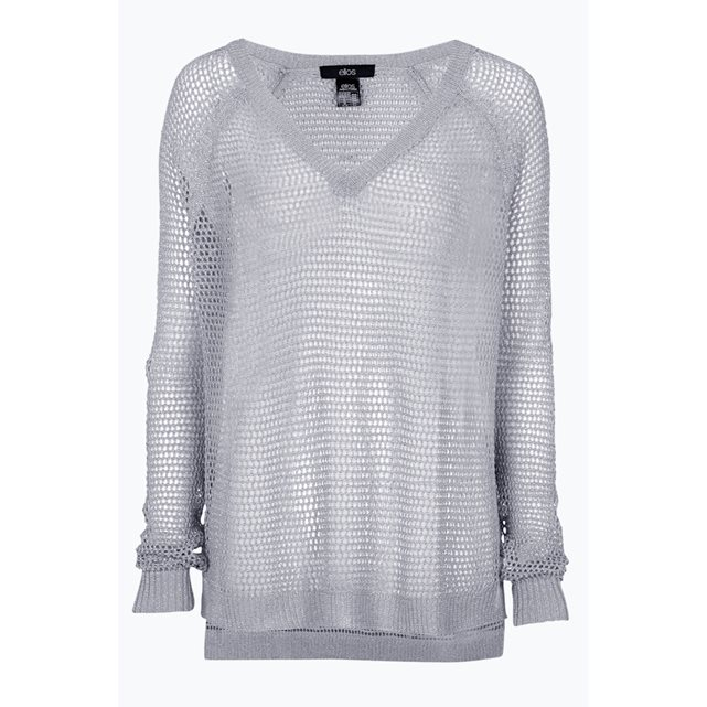 Mesh Top With Shiny Threads - neckline: v-neck; pattern: plain; predominant colour: light grey; occasions: casual; length: standard; style: top; fibres: polyester/polyamide - mix; fit: body skimming; sleeve length: long sleeve; sleeve style: standard; texture group: knits/crochet; pattern type: fabric; season: s/s 2016; wardrobe: basic
