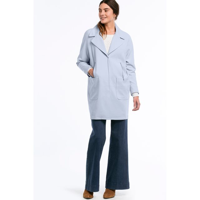 Oversized Coat With Pockets - pattern: plain; style: single breasted; collar: standard lapel/rever collar; length: mid thigh; predominant colour: pale blue; occasions: casual, creative work; fit: straight cut (boxy); fibres: cotton - 100%; sleeve length: long sleeve; sleeve style: standard; texture group: cotton feel fabrics; collar break: medium; pattern type: fabric; season: s/s 2016; wardrobe: highlight