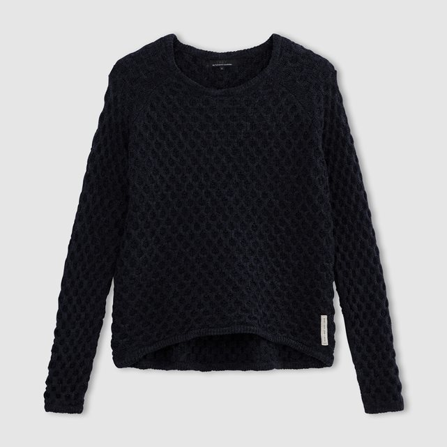 Crew Neck Jumper - pattern: plain; style: standard; predominant colour: black; occasions: casual; length: standard; fibres: cotton - mix; fit: standard fit; neckline: crew; sleeve length: long sleeve; sleeve style: standard; texture group: knits/crochet; pattern type: fabric; season: s/s 2016; wardrobe: basic