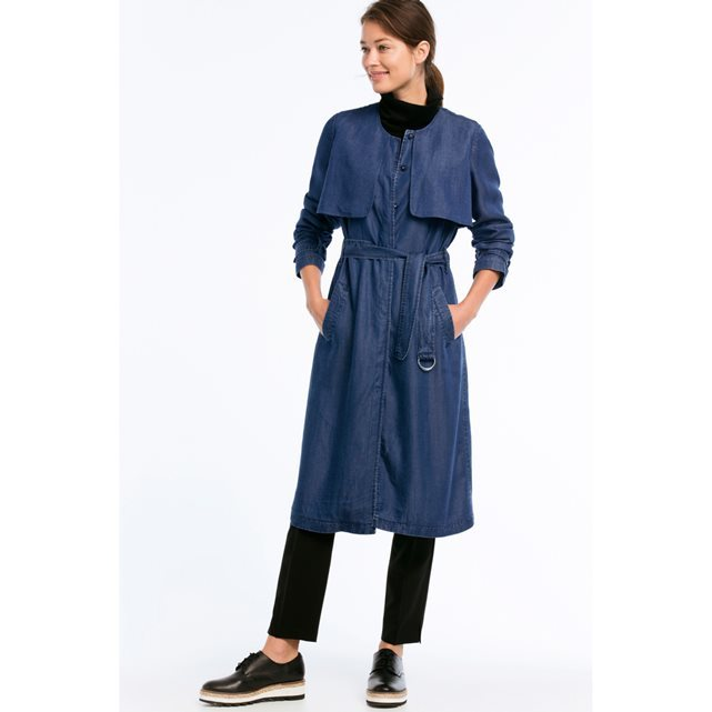 Trench Coat With Belt - pattern: plain; style: trench coat; collar: standard lapel/rever collar; predominant colour: denim; occasions: casual, creative work; fit: tailored/fitted; fibres: polyester/polyamide - 100%; length: below the knee; waist detail: belted waist/tie at waist/drawstring; sleeve length: long sleeve; sleeve style: standard; texture group: denim; collar break: medium; pattern type: fabric; season: s/s 2016; wardrobe: basic