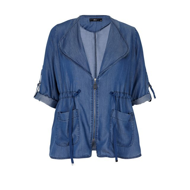 Soft Denim House Jacket - pattern: plain; collar: wide lapels; fit: loose; length: below the bottom; predominant colour: denim; occasions: casual; sleeve length: 3/4 length; sleeve style: standard; texture group: denim; collar break: medium; pattern type: fabric; fibres: viscose/rayon - mix; style: fluid/kimono; season: s/s 2016
