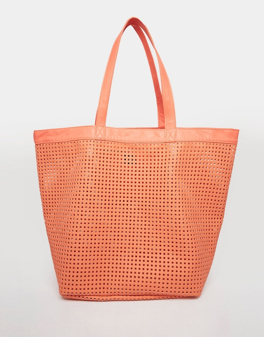 Soft Cut Out Shopper Beach Bag Coral - predominant colour: bright orange; occasions: casual, creative work; type of pattern: standard; style: tote; length: handle; size: oversized; material: faux leather; pattern: plain; finish: plain; season: s/s 2016; wardrobe: highlight